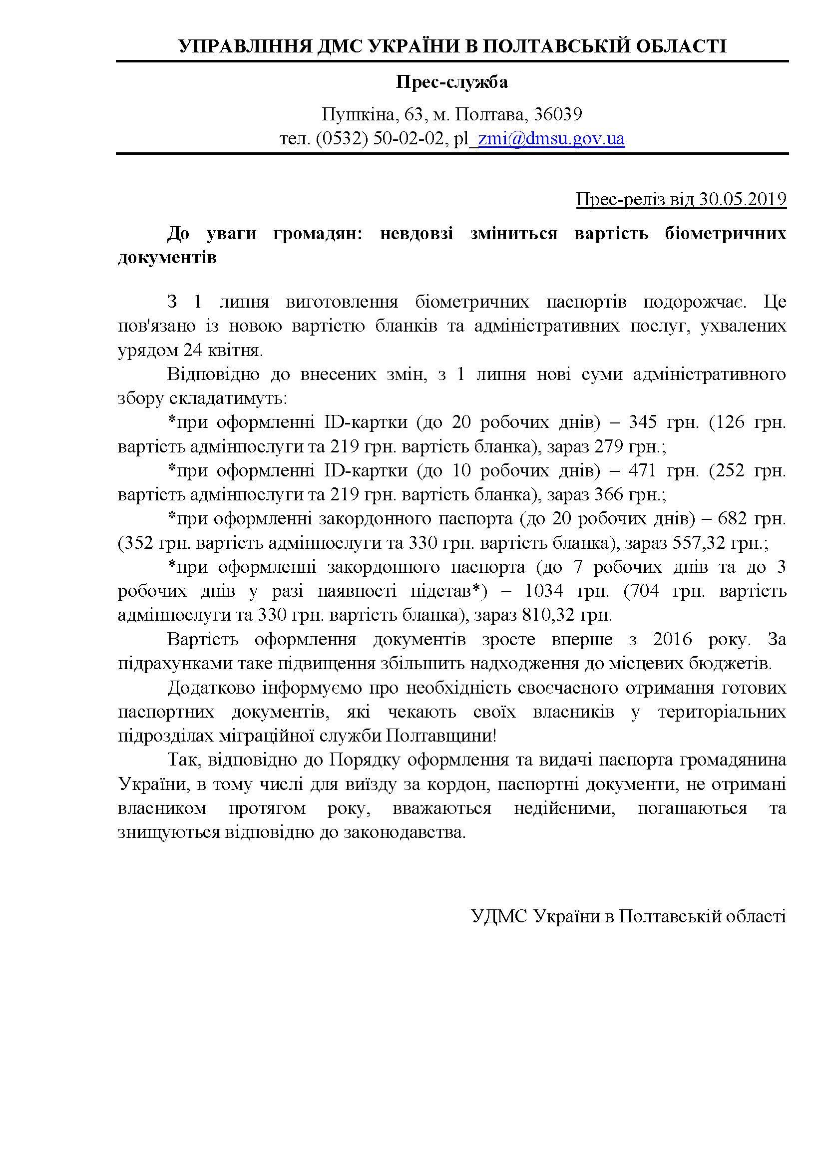 Прес-реліз щодо вартості паспортів 30.05.2019